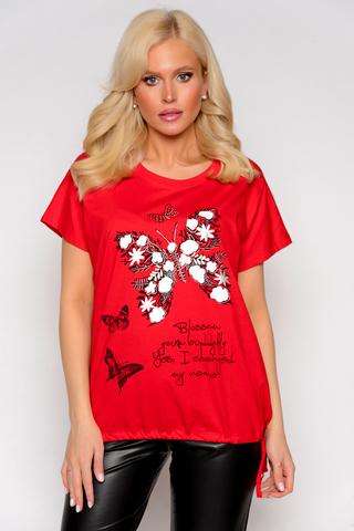 <p>Отличная футболка свободного силуэта, на кулиске по низу изделия.</p>