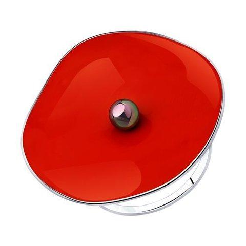 94013272 - Кольцо из серебра с  красной эмалью и жемчугом