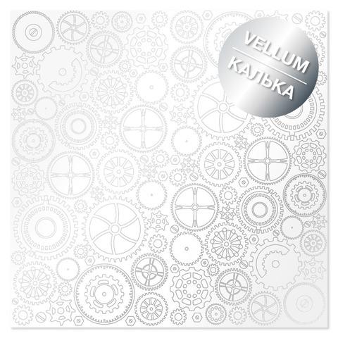 Лист кальки (веллум) с фольгированием Silver Gears 30,5х30,5 см