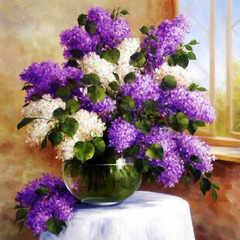 Алмазная Мозаика 40x50 Белая и фиолетовая сирень у окна