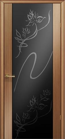Дверь Модерн (стекло чёрнбриллиант) (светлый дуб, остекленная шпонированная), фабрика LiGa