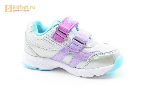 Светящиеся кроссовки для девочек Пони (My Little Pony) на липучках, цвет серебряный, мигает картинка сбоку. Изображение 2 из 15.