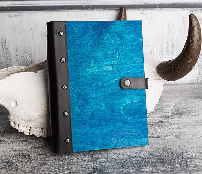 BC126-3 Яркий деревянный блокнот синего цвета  на кольцах