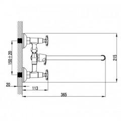 Смеситель KAISER Crystal 28155 для ванны схема