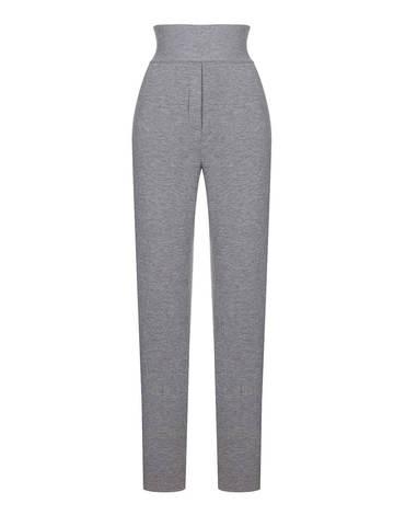 Женские брюки серого цвета из шерсти и шелка - фото 1