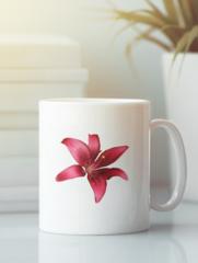 Кружка с изображением  Цветы (Лилии) белая 002