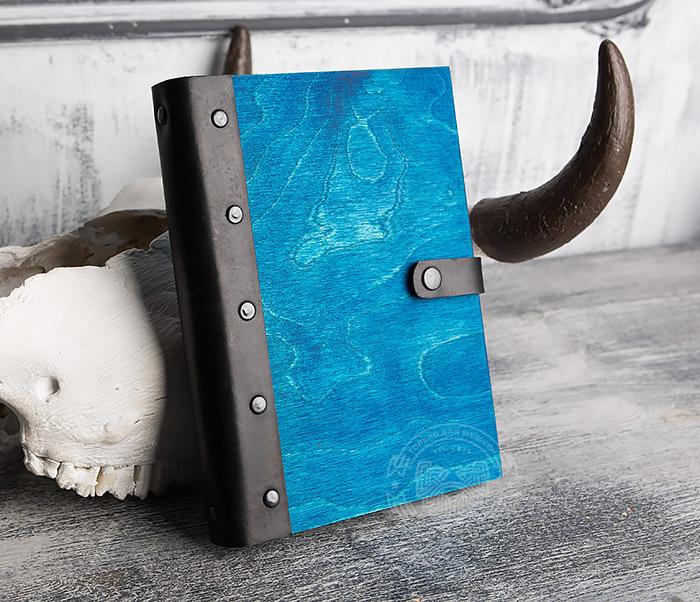 BC126-3 Яркий деревянный блокнот синего цвета  на кольцах фото 02