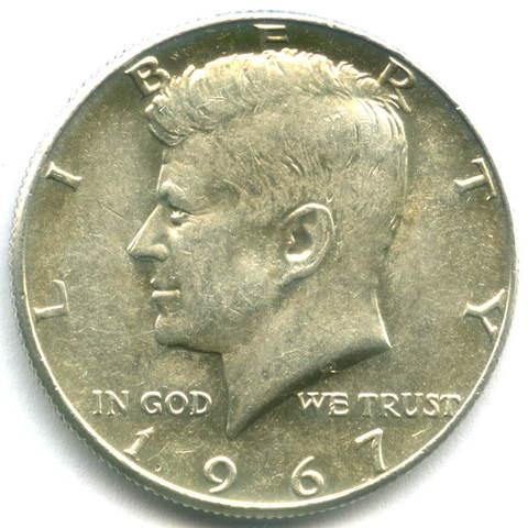 1/2 доллара США 1967 год AU (Кеннеди)