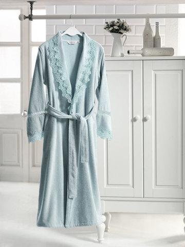 Женский махровый халат VICTORIA бирюзовый