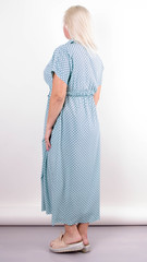 Сара. Стильное миди платье для полных. Ромб мята.