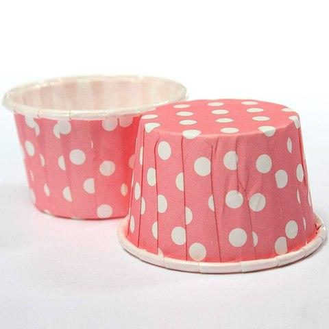 Капсулы для капкейков усиленные, розовые в горох,20шт,50*30мм