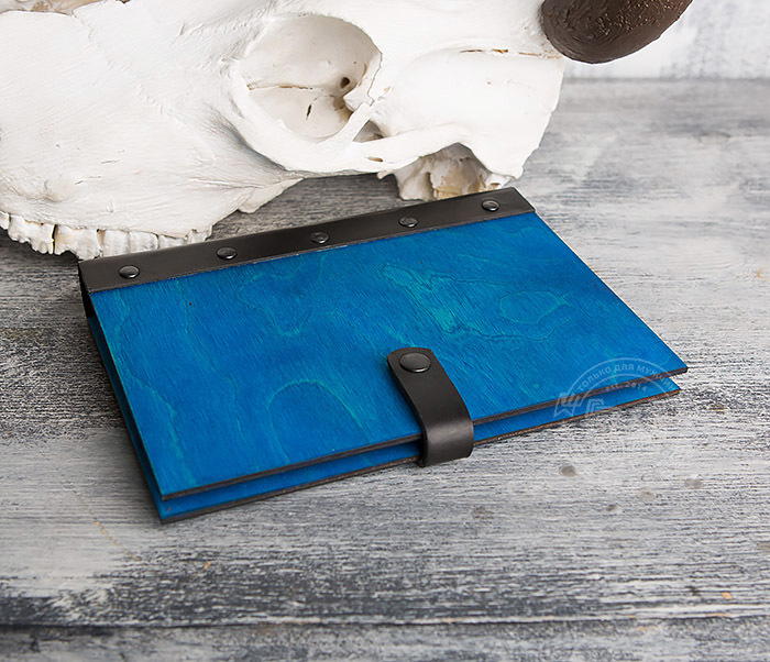 BC126-3 Яркий деревянный блокнот синего цвета  на кольцах фото 03
