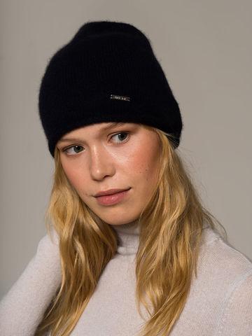 Женская черная шапка из 100% кашемира - фото 2