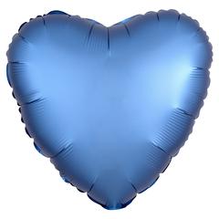 Шар сердце сатин синий