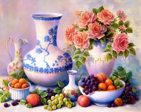 Картина раскраска по номерам 40x50 Фруктовый перекус (арт. ТС3361)