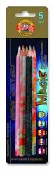 Набор 5 утолщенных многоцветных карандашей MAGIC в блистере.
