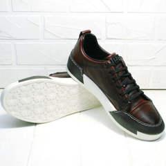 Мужские кожаные кеды сникерсы на толстой подошве Luciano Bellini C6401 MC Bordo.