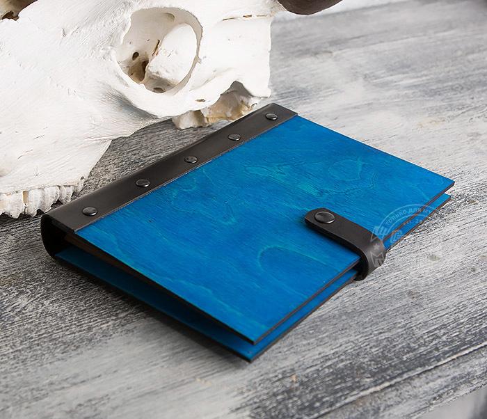 BC126-3 Яркий деревянный блокнот синего цвета  на кольцах фото 04