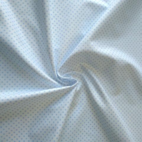 Ткань хлопковая голубые горошки на белом, отрез 50*80 см