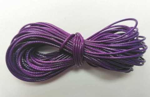 Шнур вощеный для браслетов и рукоделия 1мм*9м. Цвет фиолетовый (3094)
