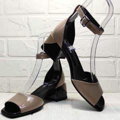 Кожаные босоножки женские на каблуке 5 см Derem 602-464-7674 Beige Black.