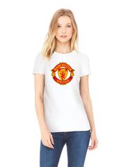 Футболка с принтом FC Manchester United (ФК Манчестер Юнайтед) белая w005