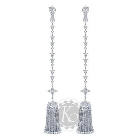 4645- Серьги из серебра с подвесками кисточками