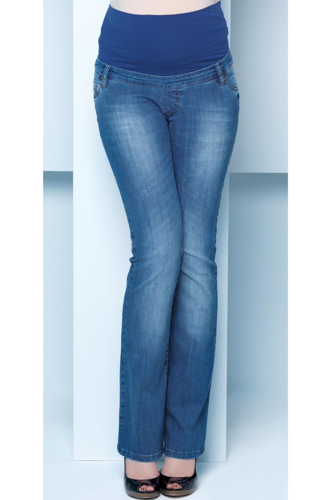 Фото джинсы для беременных EBRU, расклешенные, широкий бандаж от магазина СкороМама, синий, размеры.