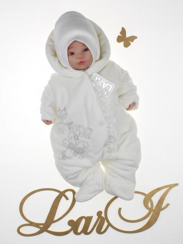 Велюровый комбинезон для новорожденных Веточка (кремовый)