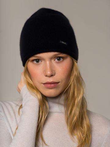 Женская черная шапка из 100% кашемира - фото 4