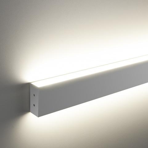 Линейный светодиодный накладной двусторонний светильник 128см 50Вт 6500К матовое серебро 101-100-40-128