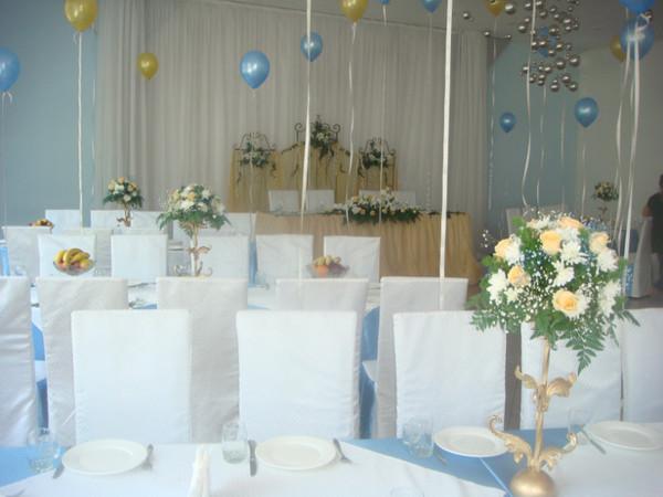 Оформление свадьбы в голубом цвете Алматы. ресторан Коктобе Алмарасан 5000тг композиции на столы, 200 тг гелиевый шарик