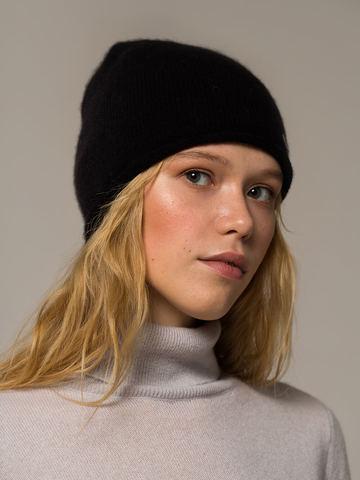 Женская черная шапка из 100% кашемира - фото 3