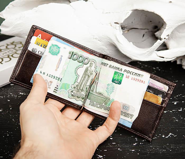 WL322-2 Коричневый зажим для денег из натуральной кожи, «Atos» фото 09