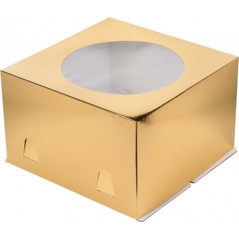 Коробка для торта с окном, 26*26*18см (золото)