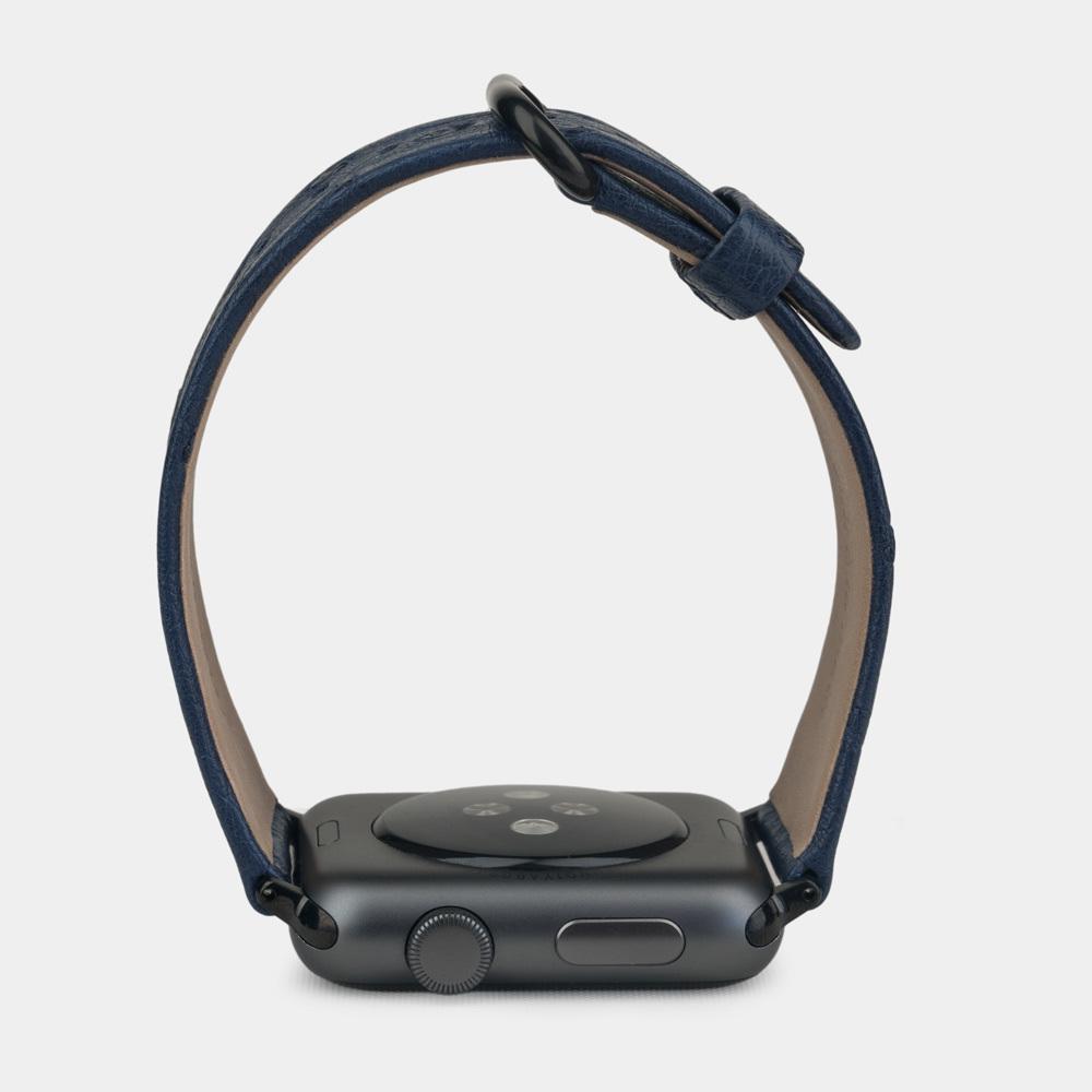 Ремешок для Apple Watch 42/44мм ST Classic из натуральной кожи страуса, синего цвета