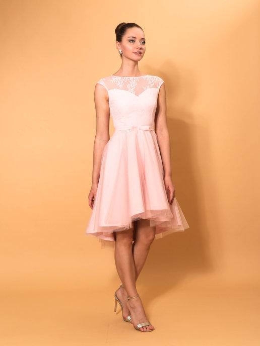 Свадебное платье с ассиметричной юбкой (пудра)