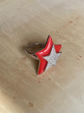 Кольцо Звезда красное, серебро
