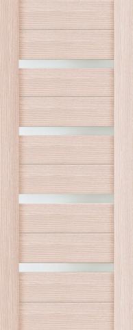 Дверь 2/15  белое стекло (орех капучино, остекленная экошпон), фабрика Ладора