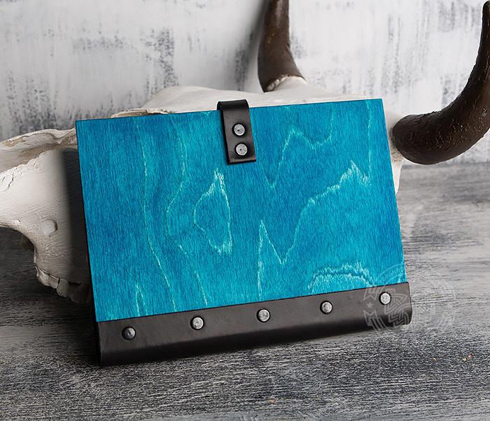 BC126-3 Яркий деревянный блокнот синего цвета  на кольцах фото 05