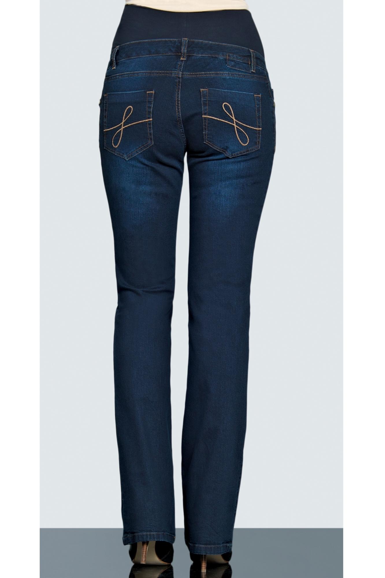 Фото джинсы для беременных EBRU, расклешенные, широкий бандаж от магазина СкороМама, темно-синий, размеры.