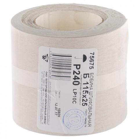 Шкурка на бумажной основе, LP10C, зернистость Р 240, рулон 115 мм х 25 м,