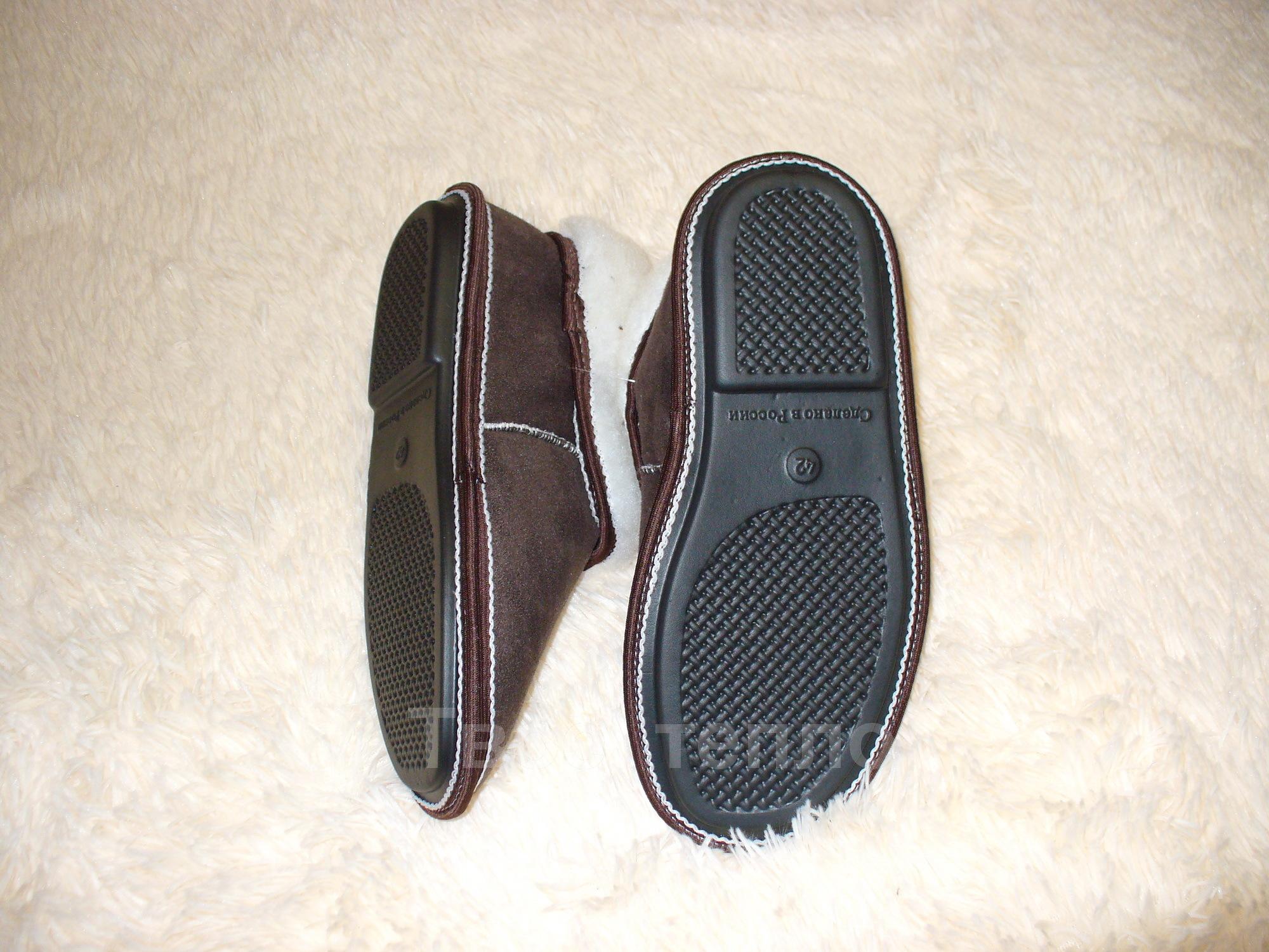 Тапочки чуни из шерсти коричневые