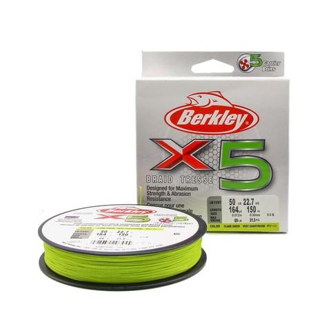 Плетеная леска Berkley X5 150м Ярко-желтая 0,30мм 22,7кг