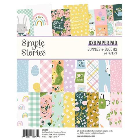 Набор двусторонней бумаги 15х20 см Simple Stories Double-Sided Paper Pad - Bunnies & Blooms -24л