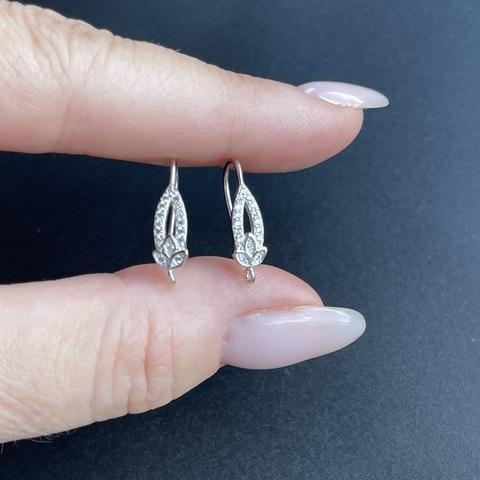 Швензы с фианитами родированные серебро 925 1 пара