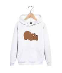 Толстовка белая с капюшоном (худи, кенгуру) 0010 и принтом Медведь, Медвежонок (Bear)