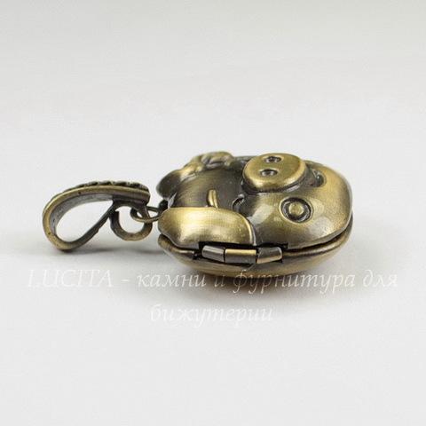 """Медальон - подвеска """"Поросенок"""" 25х25 мм (цвет - бронза)"""
