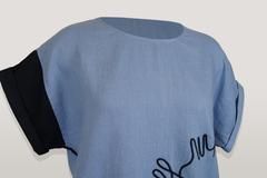 Платье Lagbi 393 лен вышивка однотон к/р (голубой)
