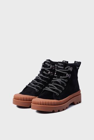 Женские черные кожаные ботинки ASCOT DESERT FUR Pepe Jeans